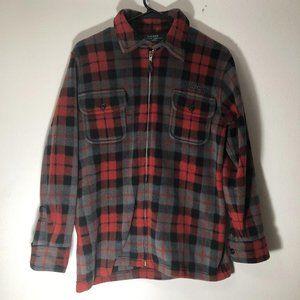 Ralph Lauren plaid fleece jacket zipup petite
